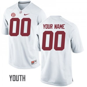 Youth Alabama Crimson Tide Custom #00 College White Embroidered Football Jersey 326590-155