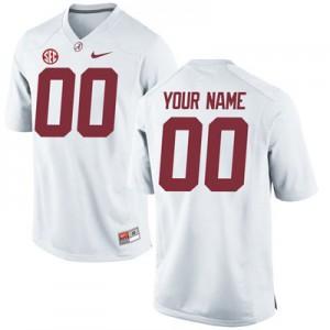 Men Alabama Crimson Tide Custom #00 College White Embroidered Football Jersey 816164-501