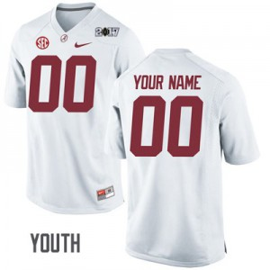 Youth Alabama Crimson Tide Custom #00 College Embroidered Playoff White Football Jersey 949007-120