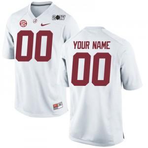 Men Alabama Crimson Tide Custom #00 College Embroidered Playoff White Football Jersey 664360-937