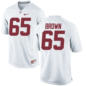Men Alabama Crimson Tide Deonte Brown #65 College White Authentic Football Jersey 713904-372
