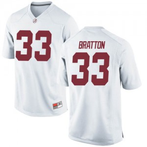Men Alabama Crimson Tide Jackson Bratton #33 College White Game Football Jersey 713475-582