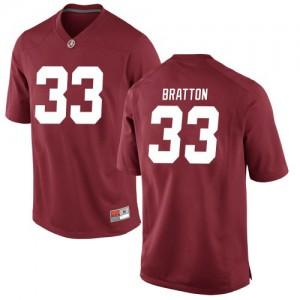 Men Alabama Crimson Tide Jackson Bratton #33 College Crimson Replica Football Jersey 922689-376