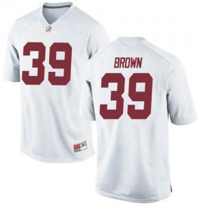 Men Alabama Crimson Tide Jahi Brown #39 College White Replica Football Jersey 337989-202