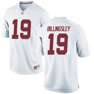 Men Alabama Crimson Tide Jahleel Billingsley #19 College White Replica Football Jersey 678880-145