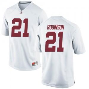 Men Alabama Crimson Tide Jahquez Robinson #21 College White Replica Football Jersey 843345-667