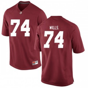 Men Alabama Crimson Tide Jedrick Wills Jr. #74 College Crimson Replica Football Jersey 192112-155