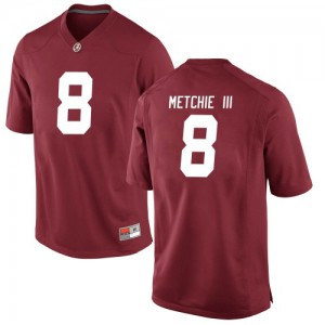 Men Alabama Crimson Tide John Metchie III #8 College Crimson Replica Football Jersey 434311-706