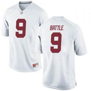 Men Alabama Crimson Tide Jordan Battle #9 College White Game Football Jersey 587862-938