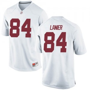 Men Alabama Crimson Tide Joshua Lanier #84 College White Replica Football Jersey 491838-413