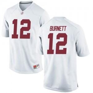 Men Alabama Crimson Tide Logan Burnett #12 College White Replica Football Jersey 994294-298