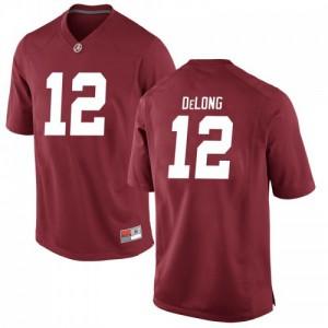 Men Alabama Crimson Tide Skyler DeLong #12 College Crimson Game Football Jersey 698455-296