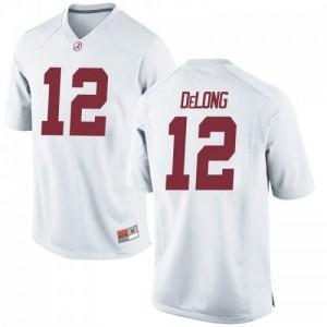 Men Alabama Crimson Tide Skyler DeLong #12 College White Game Football Jersey 413617-707
