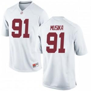 Men Alabama Crimson Tide Tevita Musika #91 College White Game Football Jersey 410427-325