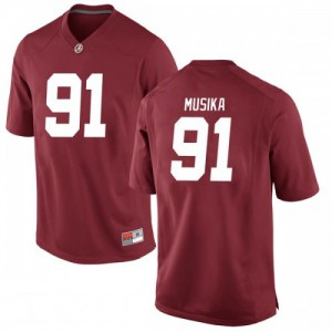Men Alabama Crimson Tide Tevita Musika #91 College Crimson Replica Football Jersey 632686-446
