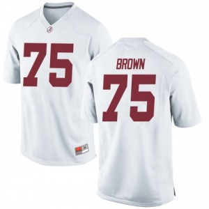 Men Alabama Crimson Tide Tommy Brown #75 College White Game Football Jersey 155643-747