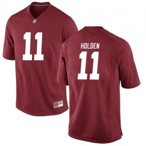 Men Alabama Crimson Tide Traeshon Holden #11 College Crimson Replica Football Jersey 153538-226