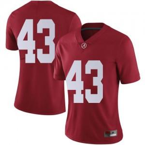 Women Alabama Crimson Tide A.J. Gates #43 College Crimson Limited Football Jersey 961017-112
