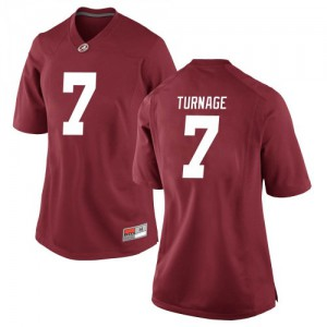 Women Alabama Crimson Tide Brandon Turnage #7 College Crimson Replica Football Jersey 387209-274