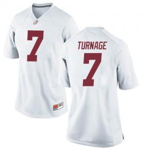 Women Alabama Crimson Tide Brandon Turnage #7 College White Replica Football Jersey 786326-944