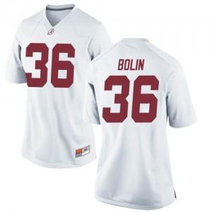 Women Alabama Crimson Tide Bret Bolin #36 College White Replica Football Jersey 419904-540