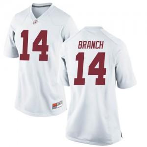 Women Alabama Crimson Tide Brian Branch #14 College White Replica Football Jersey 592129-844