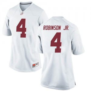 Women Alabama Crimson Tide Brian Robinson Jr. #4 College White Game Football Jersey 471345-755