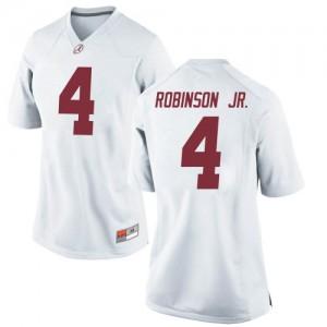 Women Alabama Crimson Tide Brian Robinson Jr. #4 College White Replica Football Jersey 411275-711