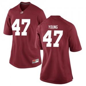 Women Alabama Crimson Tide Byron Young #9 College Crimson Replica Football Jersey 553469-195