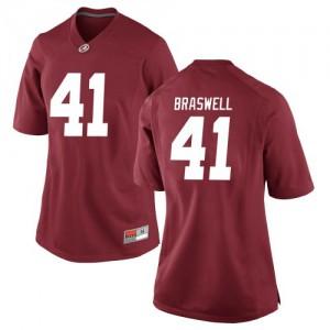 Women Alabama Crimson Tide Chris Braswell #41 College Crimson Replica Football Jersey 982566-973