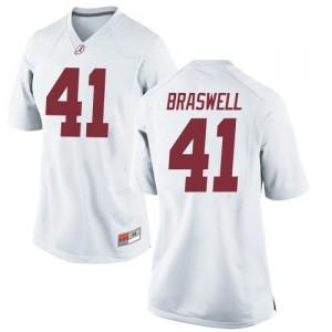 Women Alabama Crimson Tide Chris Braswell #41 College White Replica Football Jersey 258575-648
