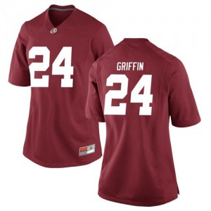 Women Alabama Crimson Tide Clark Griffin #24 College Crimson Game Football Jersey 397413-594