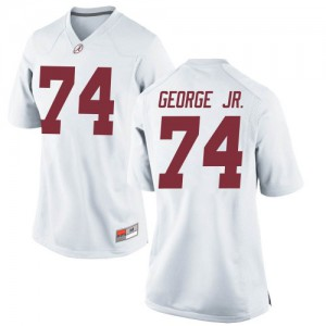 Women Alabama Crimson Tide Damieon George Jr. #74 College White Replica Football Jersey 979179-480