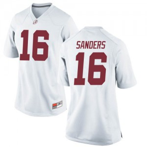 Women Alabama Crimson Tide Drew Sanders #16 College White Replica Football Jersey 847765-591