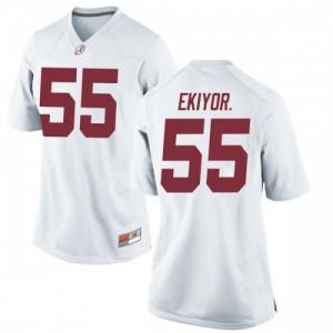 Women Alabama Crimson Tide Emil Ekiyor Jr. #55 College White Replica Football Jersey 721106-469