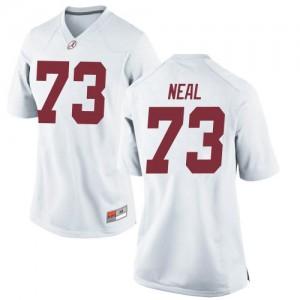 Women Alabama Crimson Tide Evan Neal #73 College White Replica Football Jersey 696872-753