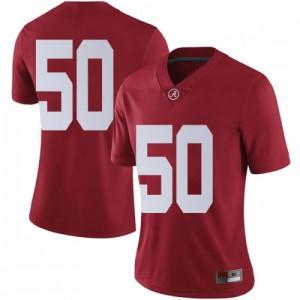 Women Alabama Crimson Tide Hunter Brannon #50 College Crimson Limited Football Jersey 161638-955
