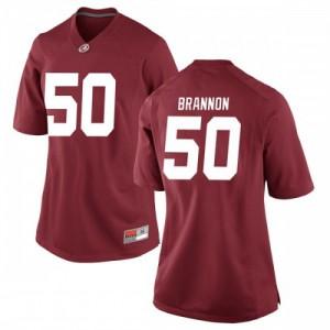 Women Alabama Crimson Tide Hunter Brannon #50 College Crimson Replica Football Jersey 345044-334