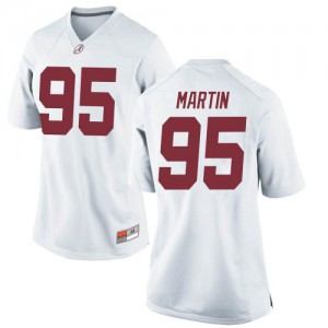 Women Alabama Crimson Tide Jack Martin #95 College White Game Football Jersey 915046-159