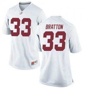 Women Alabama Crimson Tide Jackson Bratton #33 College White Game Football Jersey 546366-413