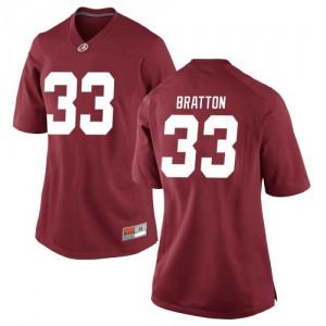 Women Alabama Crimson Tide Jackson Bratton #33 College Crimson Replica Football Jersey 680526-278