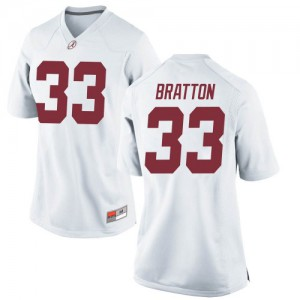 Women Alabama Crimson Tide Jackson Bratton #33 College White Replica Football Jersey 852601-515