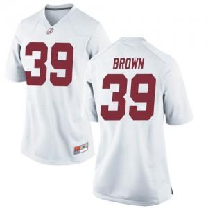 Women Alabama Crimson Tide Jahi Brown #39 College White Replica Football Jersey 872219-726