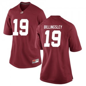 Women Alabama Crimson Tide Jahleel Billingsley #19 College Crimson Replica Football Jersey 246888-779