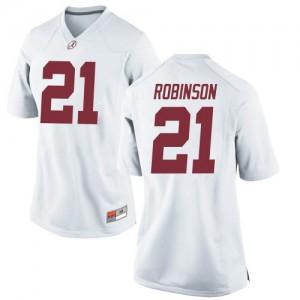 Women Alabama Crimson Tide Jahquez Robinson #21 College White Replica Football Jersey 617327-215