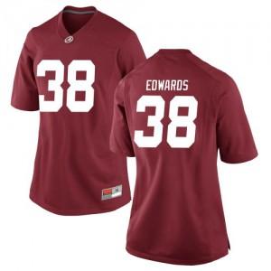 Women Alabama Crimson Tide Jalen Edwards #38 College Crimson Replica Football Jersey 504742-883
