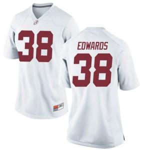 Women Alabama Crimson Tide Jalen Edwards #38 College White Replica Football Jersey 325848-408