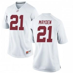 Women Alabama Crimson Tide Jared Mayden #21 College White Replica Football Jersey 583419-345