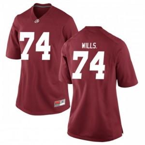 Women Alabama Crimson Tide Jedrick Wills Jr. #74 College Crimson Replica Football Jersey 935626-424