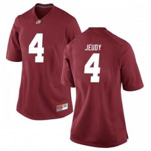 Women Alabama Crimson Tide Jerry Jeudy #4 College Crimson Replica Football Jersey 785323-326